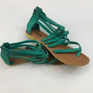 Charlotte Russe Flat Sandals Teal/Yellow (Size 7)